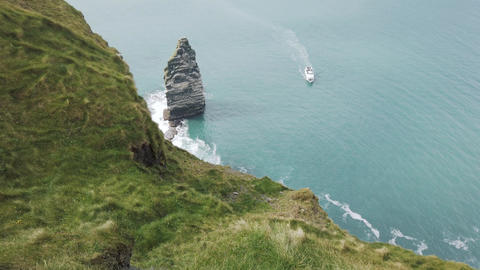 The Cliffs of Moher. Epic Irish Landscape Seascape along... Stock Video Footage