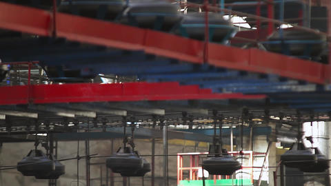 Conveyor with tires at factory. Tires production Live Action