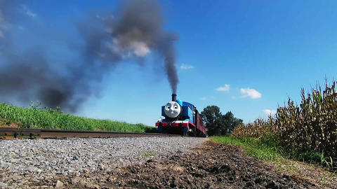 Thomas the Train Puffing along Amish Country Farm lands Footage
