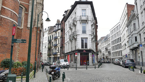 Traditional architecture in Brussels - Pan Footage