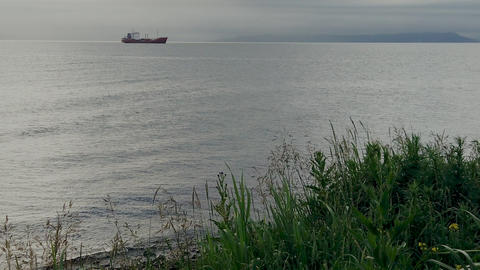 Seascape with a view of the ship on the horizon Live Action