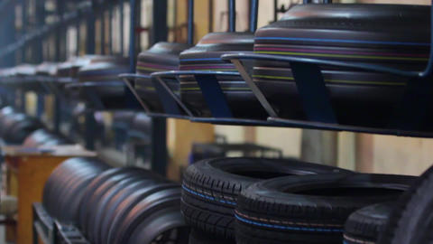 Group of new tires for sale at a tire store Live Action