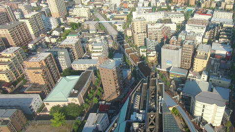 Japan city scenery. City view from above Live Action