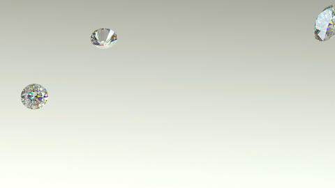 Diamonds flying away over studio light background with Alpha Animation