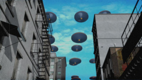 UFO Armada over Downtown. Color Version Animation