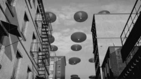 UFO Armada over Downtown. Black and White Version Animation