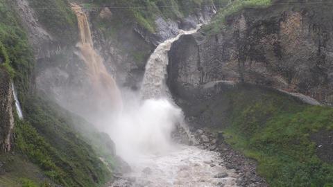Ecuador raining season waterfall Footage