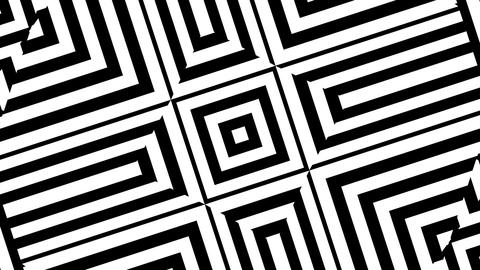 Rotating squares morphing into diamonds and black and white stripes Animation
