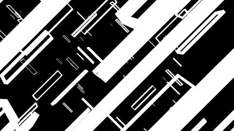 Floating rectangle black and white frames zooming in Animation