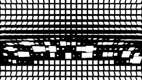 Grid of randomized black and white square lines folding and rotating Animation