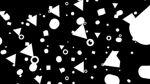 Geometric black and white bouncing confetti shapes Animation
