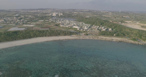 Drone 4K Odo beach01 60fps Sunset Time Okinawa Japan D-Log Footage