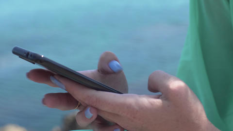 Close Up Woman Hands Using Smartphone Texting Sending Messages GIF