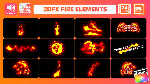 Hand Drawn Fire Elements Pack Apple Motion Template