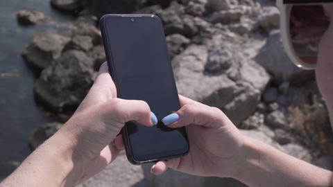 Woman Using Smartphone Texting Sending Messages Footage