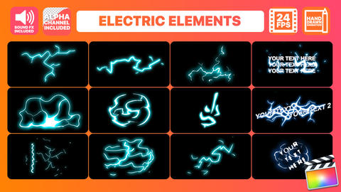 Hand Drawn Electric Elements Pack Apple Motion Template