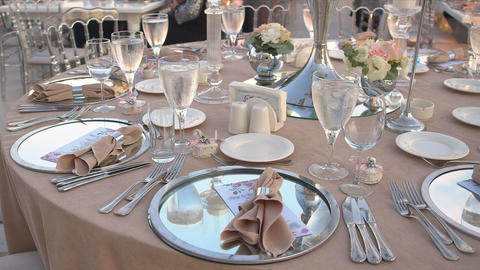 Wedding Table Close up Footage