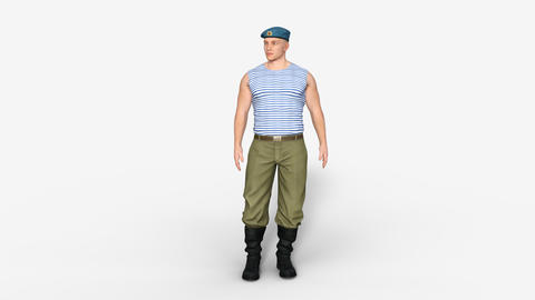 3d model of Russian male soldier airborne, animation, transparent background Live Action
