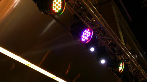 Stage lights moving and flashing 48 Footage