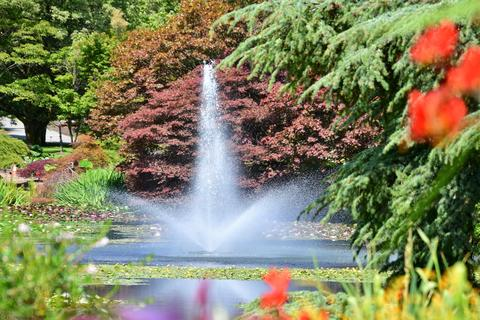 A water fountain in a lush graden sprays jets of water on this hot sunny day Photo