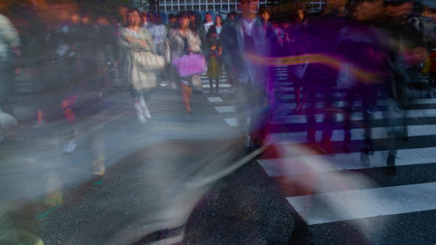 A timelapse of people at the crossing in Shibuya Tokyo daytime slow shutter ビデオ