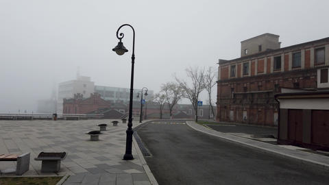 City landscape in the fog. Vladivostok, Russia Footage