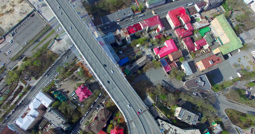 Aerial view of the urban landscape overlooking the Russian bridge Footage