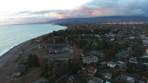 Aerial view of the cityscape. Sukhumi, Abkhazia Live Action