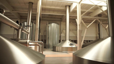 Modern brewing production - metal beer tanks Live Action