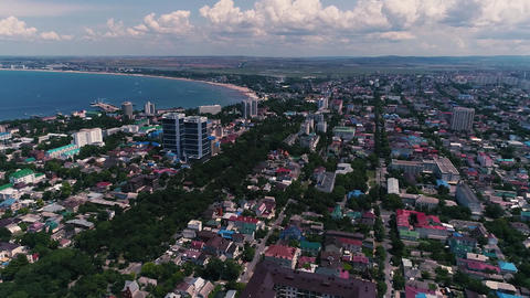 Aerial Video. Coast of a large City of the Black Sea. The resort town of Anapa Live Action