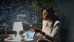 Close up of african american business woman explaining something with tablet Footage