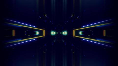 futuristic science-fiction lights glowing tunnel corridor 3d illustration vj Animation