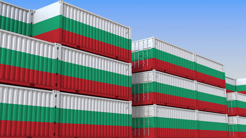 Container terminal full of containers with flag of Bulgaria. Bulgarian export or Live Action