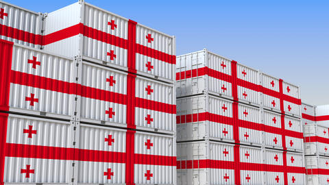 Container yard full of containers with flag of Georgia. Georgian export or Live Action