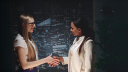 Multiracial business women shaking hands with each other Footage