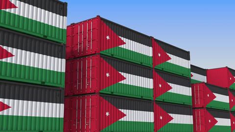 Container yard full of containers with flag of Jordan. Jordanian export or Live Action