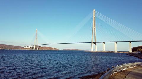 Marine landscape with views of the Russian bridge on the horizon. Vladivostok, Primorsky Krai Footage