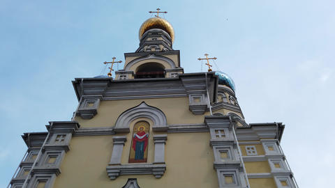 The architecture of the intercession Church against the blue sky Footage