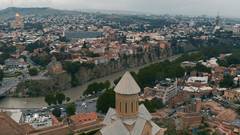 Cityscape of Gergia, Tbilisi - aerial shot Footage