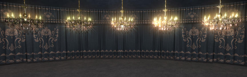 Gray Curtains Stage With Chandeliers Animation