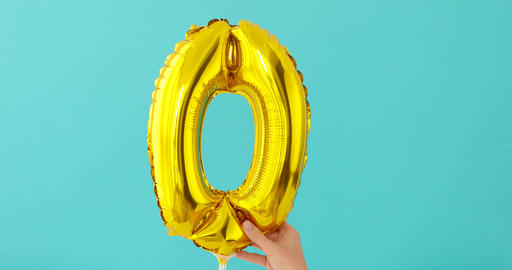 Gold foil number o 0 zero celebration balloon Live Action
