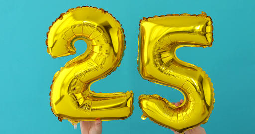 Gold foil number 25 twenty five celebration balloon Footage