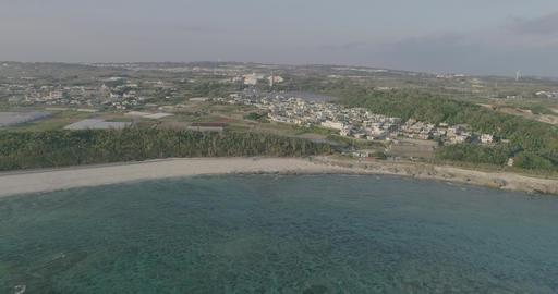 Drone4k - odo beach rising 60fps Sunset Time Okinawa Japan D-Log Footage