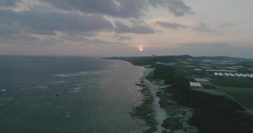 Drone4k - odo beach Sunset 60fps Time Okinawa Japan D-Log Footage