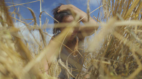 Graceful woman with short hair wearing bodysuit relaxing on the wheat field Footage