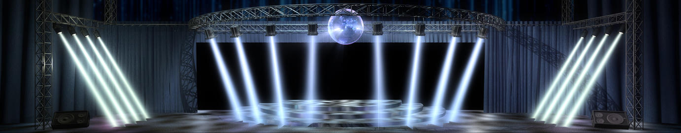 Disco Party Stage With Spotlights Animation