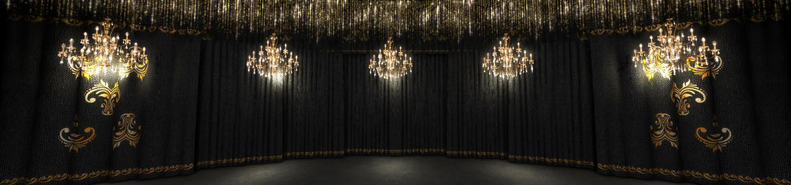 Black Concert Stage And Chandeliers Animation
