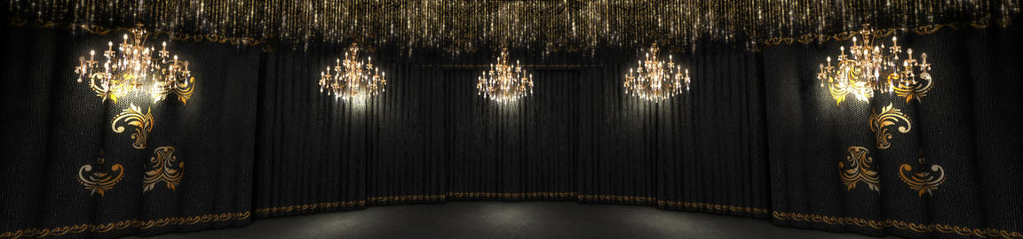 Black Concert Stage And Chandeliers Stock Video Footage