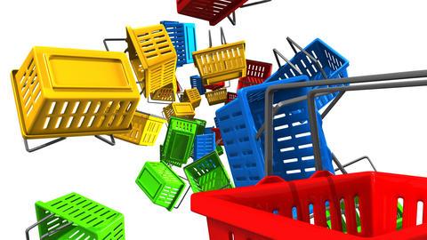 Shopping baskets on white background Animation
