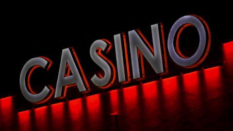 Casino Sign LED Lights Closeup Handheld Footage